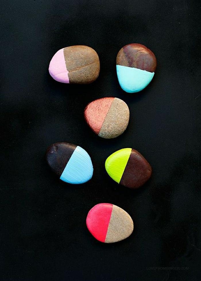 Steine-bemalte-Hälfte-verschiedene-Farben-süß-originell