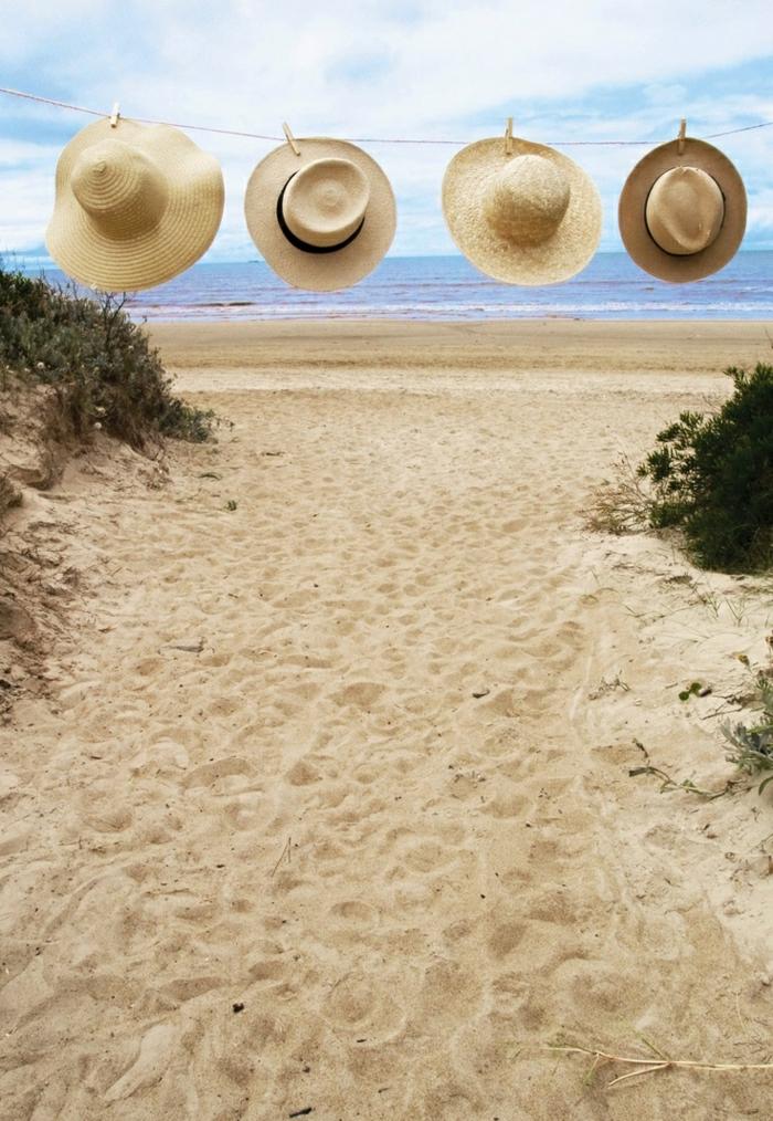 Strohhüte-Strand-Meer-Sand-Wäscheklammer