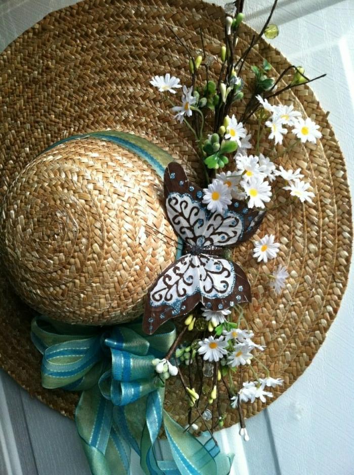 Sommerhut-Krempe-Band-künstliche-Blumen-Schmetterling
