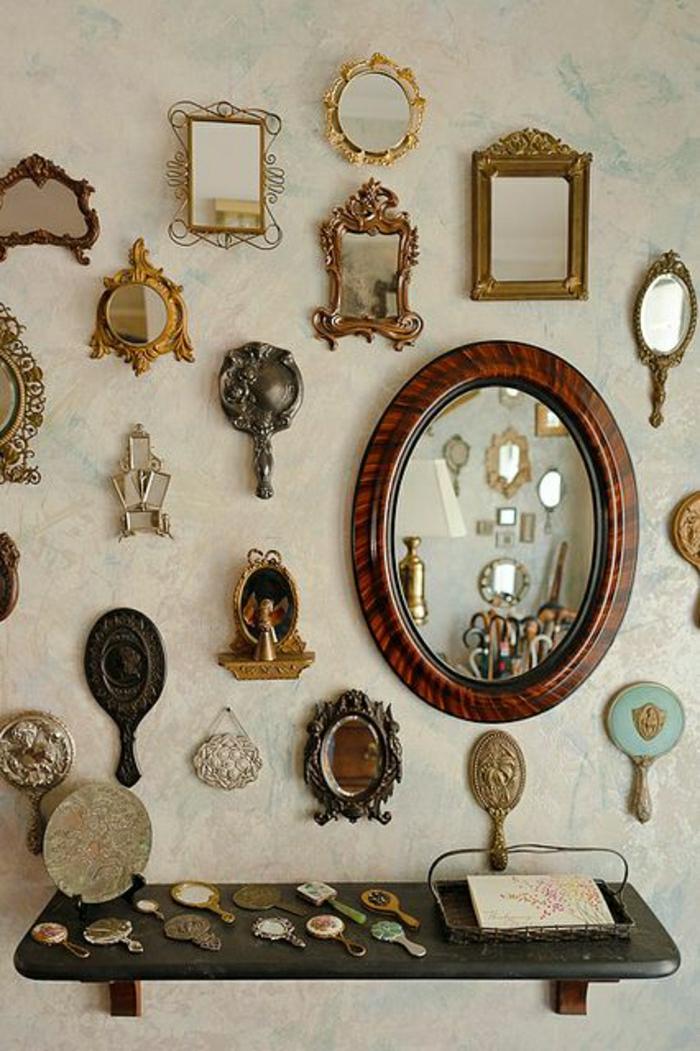 Vintage-Spiegel-Rahmen-Holz-Metall-Wand-Tischplatte