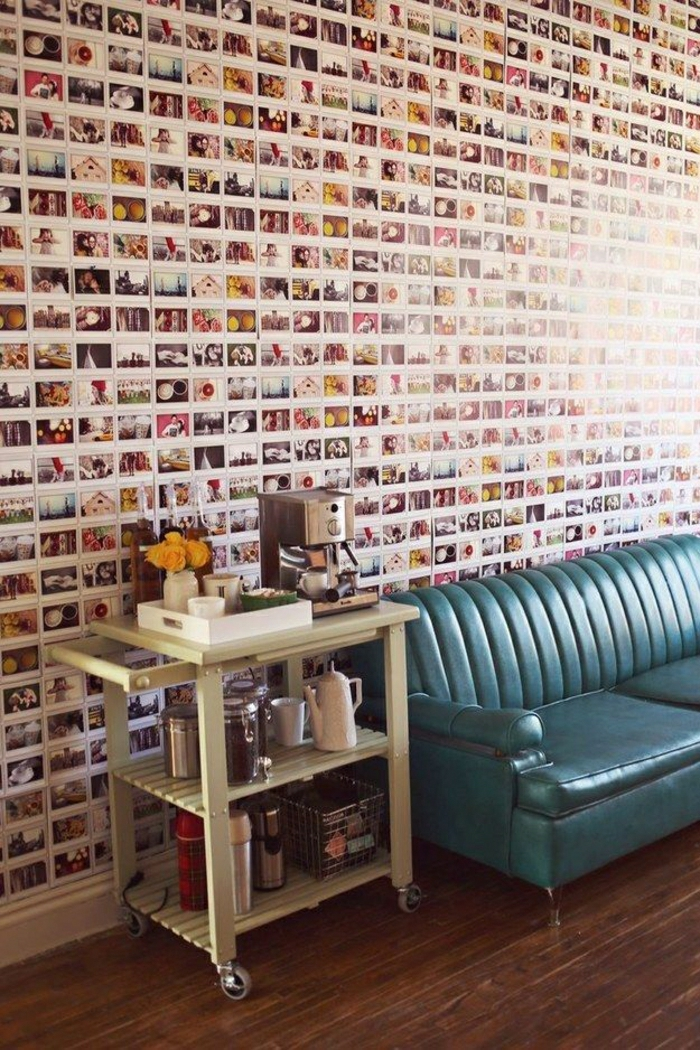 Wanddekoration-Ideen-Fotos-Ledersofa-Kaffeemaschine-Tassen
