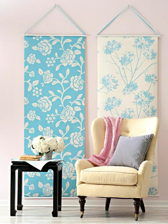 Wanddekoration-Ideen-Leinwände-Blumen-Muster