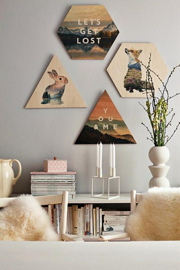 Wohnzimmer-Wanddekoration-Ideen-Tierbilder-Kerzen-Bücher