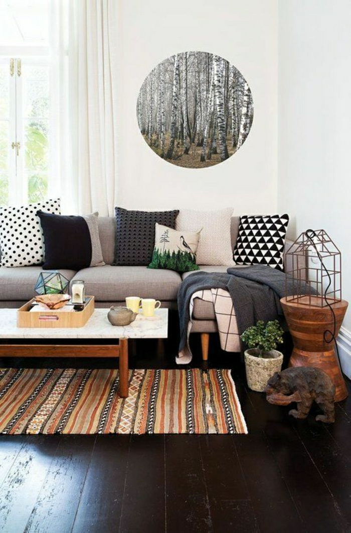 Wohnzimmer-rustikaler-Stil-Wanddeko-Birken-Foto