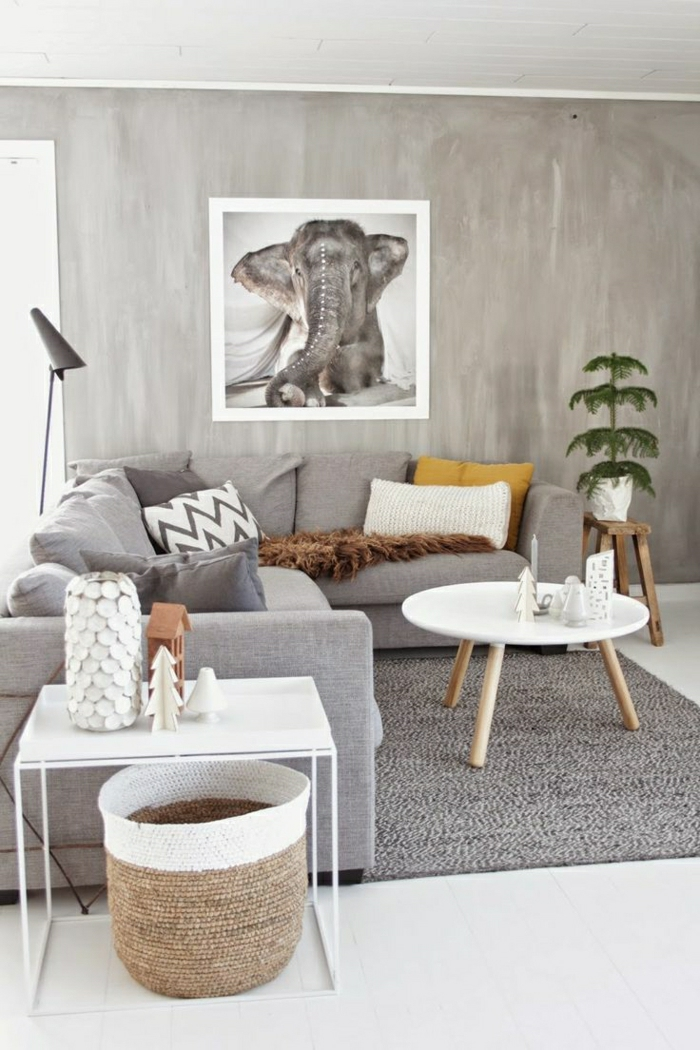 Wohnzimmer-skandinavischer-Stil-grau-weiße-Elemente-Blumentopf-Wanddekoration-Zeichnung-Elefant