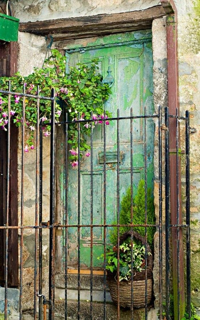 alte-grüne-Haustür-Zaun-hängende-Blumen-Blumentopf