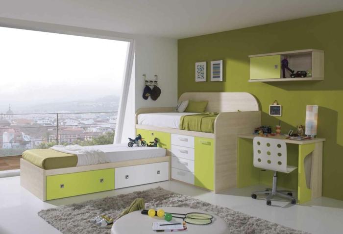 ausgefallene-kinderbetten-grüne-farbe-im-kinderzimmer
