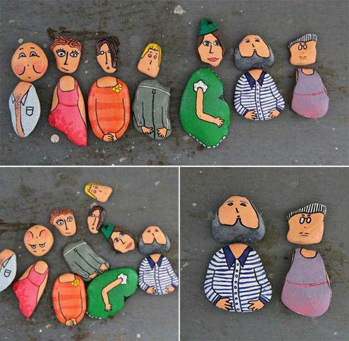 dekorierte-Steine-Menschen-Zeichnungen-Familie-Frauen-Männer