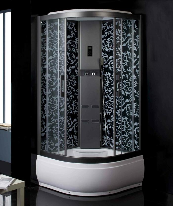 elegante-Duschkabine-schwarze-Wände-graue-Ornamente