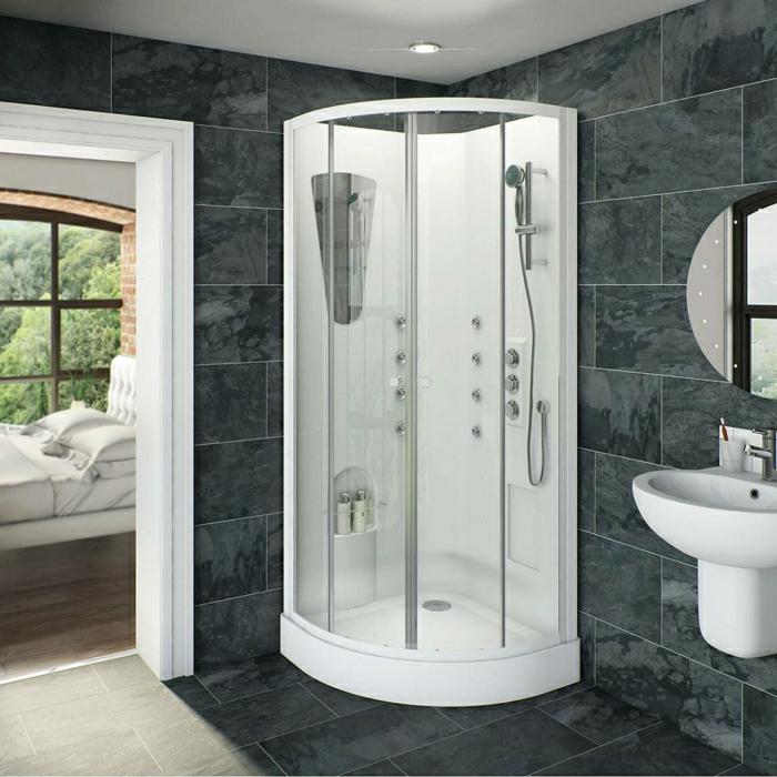 elegante-weiße-Kabine-Dusche-Badezimmer-Waschbecken-Spiegel-Schlafzimmer