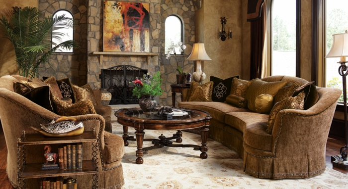 elegantes-wohnzimmer-braune-stühle