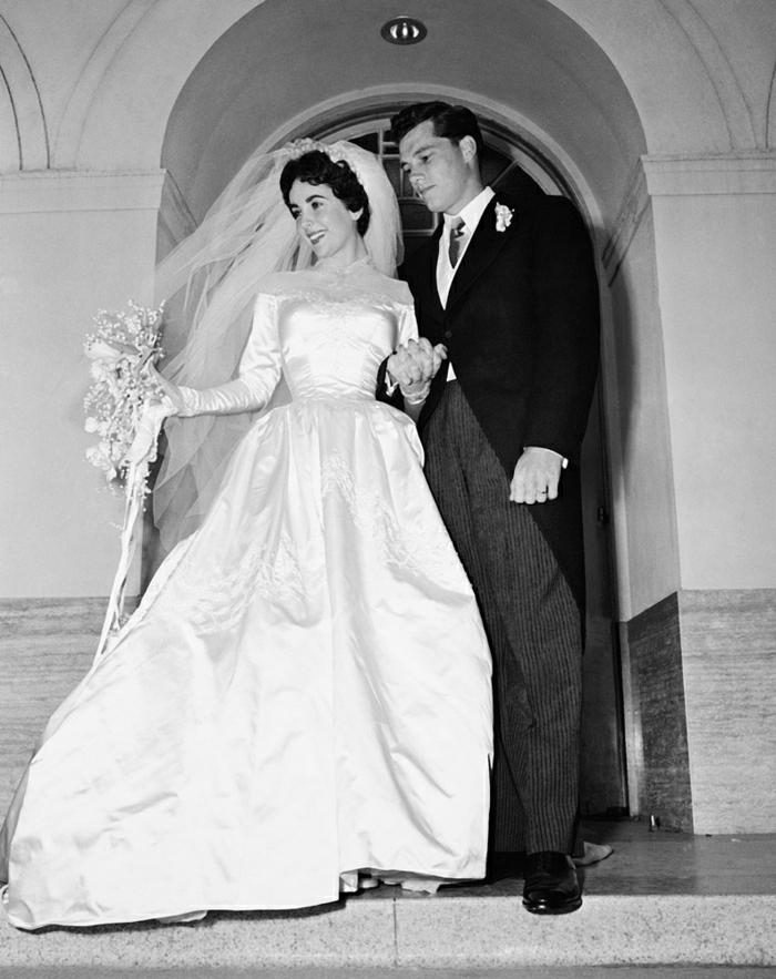 elizabeth-taylor-Conrad-Hilton-Hochzeit-Foto-Brautpaar-retro