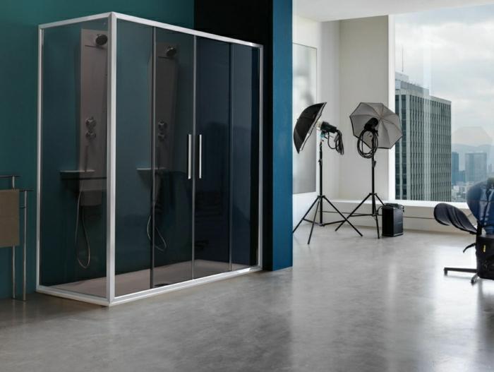 gläserne-Kabine-zwei-Duschen-luxuriös-Foto-Studio-schöne-Ansicht