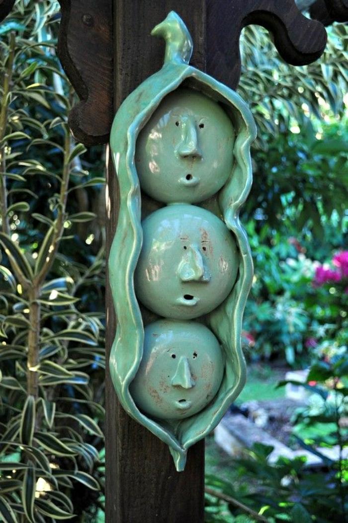 keramische-Erbsen-grün-Dekoration-Garten
