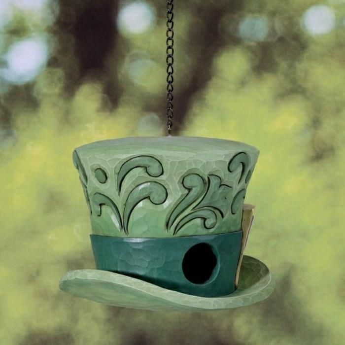 keramischer-Vogelfütterer-grün-Garten-Hof