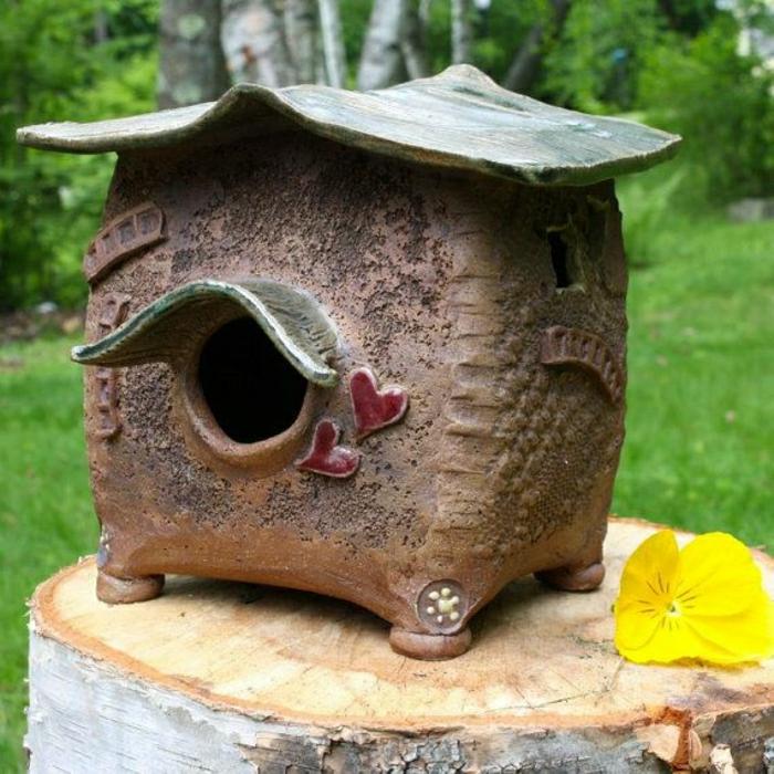 keramisches-Vogelhaus-handgemacht-Garten-Hof-Dekoration