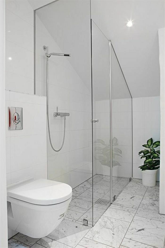 kleine-Duschkabine-weiß-Dachschräge-Toilette-Pflanze