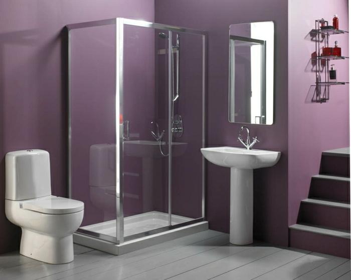 kleines-Badezimmer-Toilette-Waschbecken-Dusche-Kabine-modern-lila-Wände