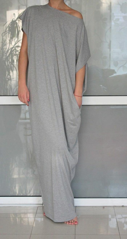 langes-Sommerkleid-grau-elastisch-Baumwolltrikot