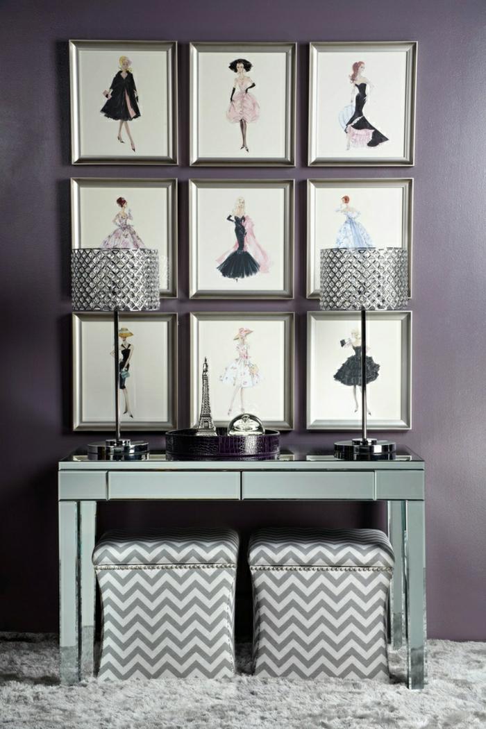 lila-Wand-Deko-Bilder-Foto-Modelle-Kleider-Zeichnungen