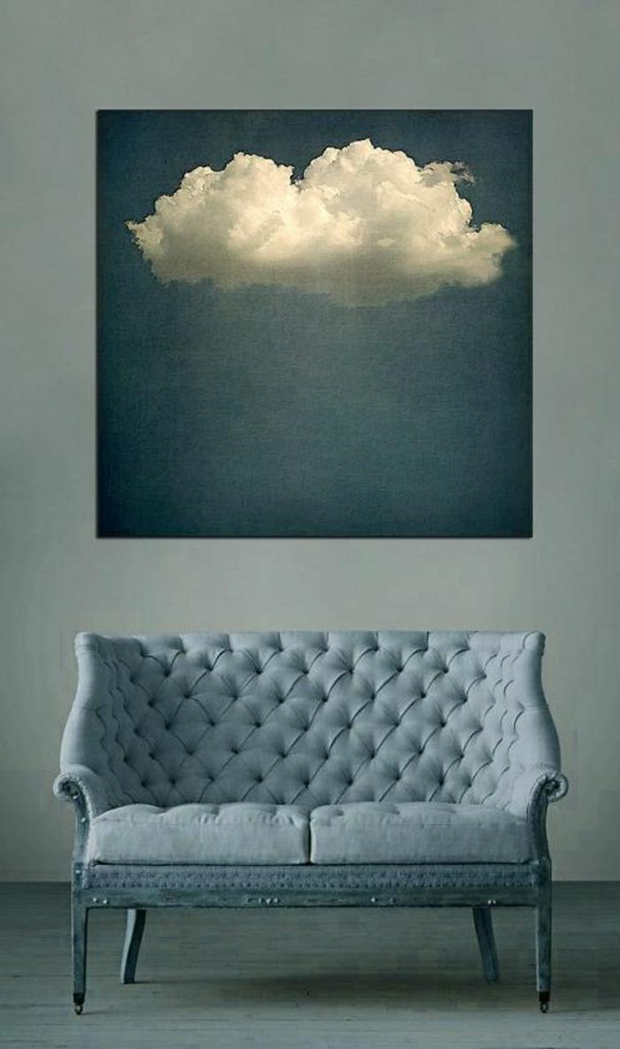 minimalistische-Einrichtung-blaues-Plüschsofa-Leinwandbild-Wolke