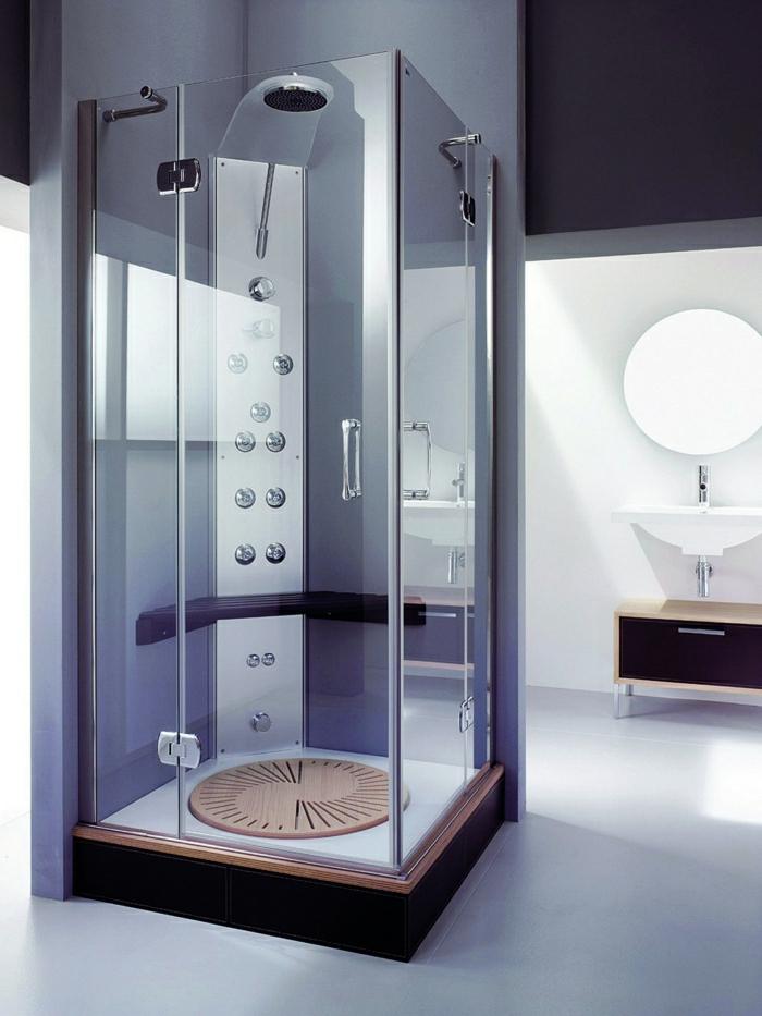 modernes-Badezimmer-lila-Wände-Dusche-Kabine-Glas