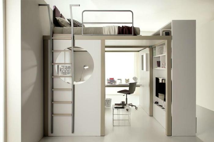 Platzsparende Möbel Graue Ausstattung