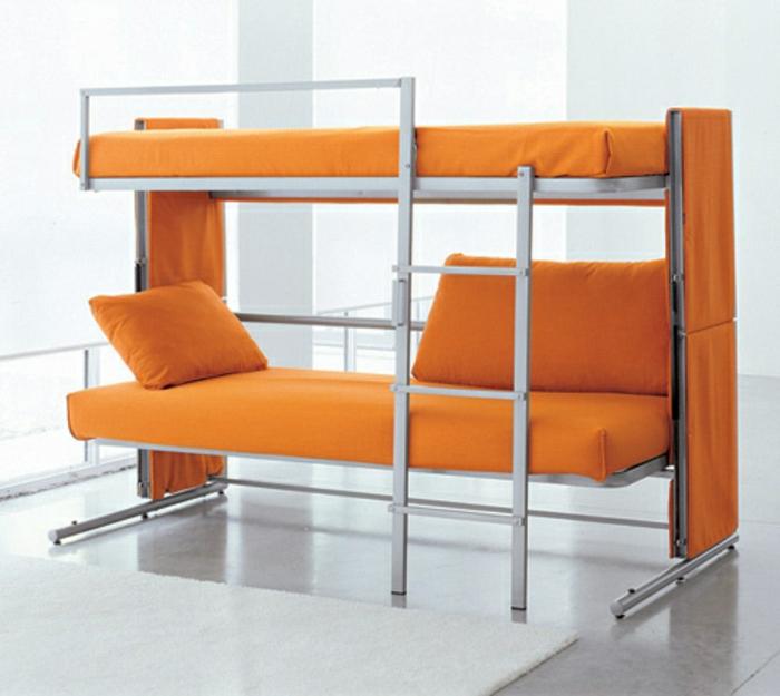 platzsparende-möbel-orange-bett-auf-zwei-etagen