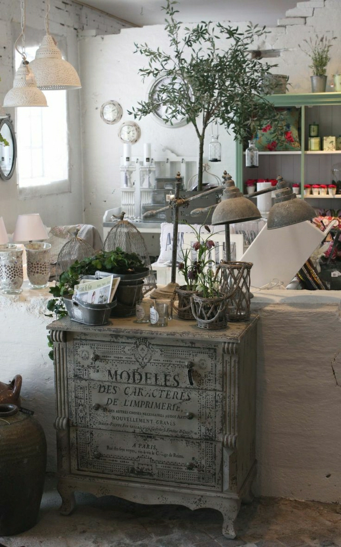 rustikale-Möbel-Kommode-weiße-Lampen-Blumen