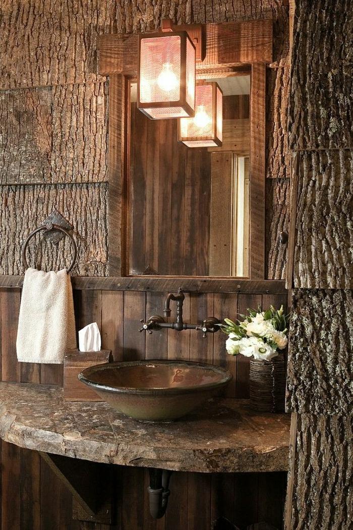 rustikale-Möbel-Badezimmer-Rinde-Wände-Tischplatte-Stein-rundes-Waschbecken