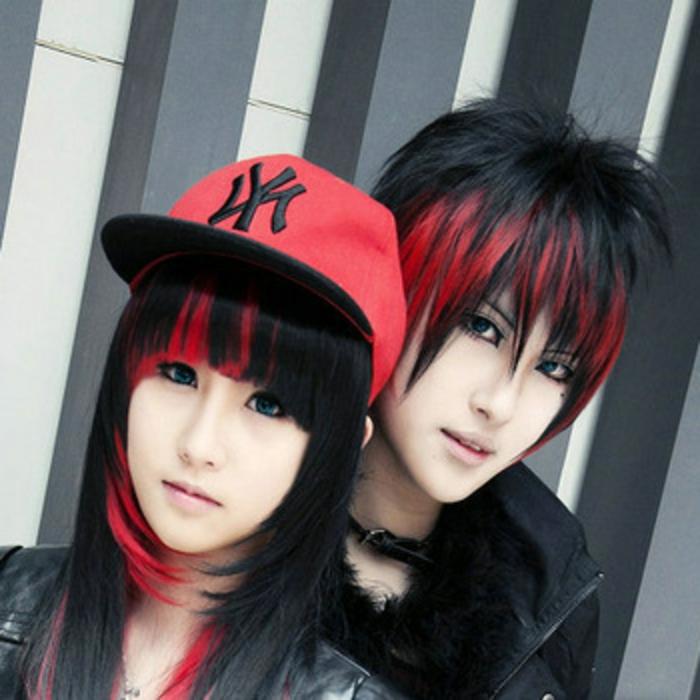schwarz-rote-haare-teenagers-sehr-lustiges-foto