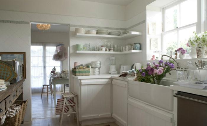 shabby-chic-bilder-weiße-schöne-küche