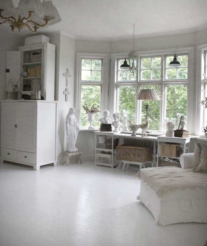 shabby-chic-bilder-weißes-wohnzimmer