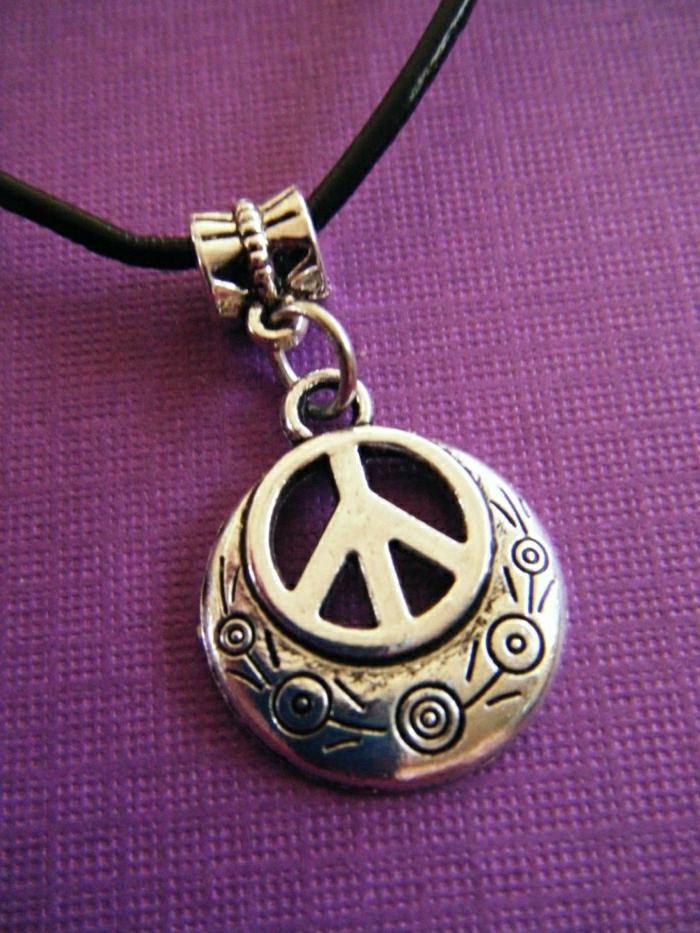 silber-Metall-Frieden-Zeichen-Kette-Boho-Hippie-Stil