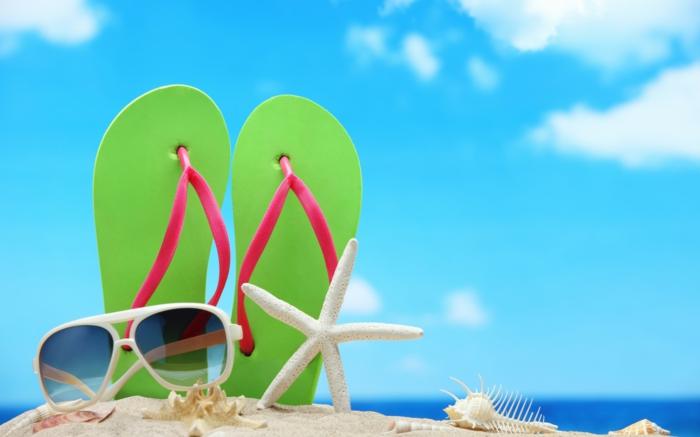 sonne-und-strand-coole-grüne-flip-flops