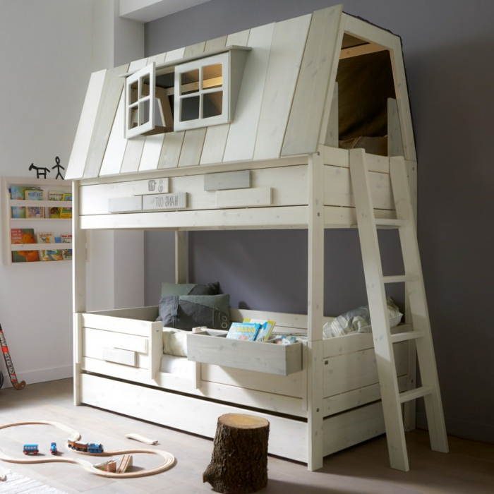 unusual-kids-bunk-bed-with-house-shaped-plus-dormer-windows-and-beautiful-ladder-design-resized