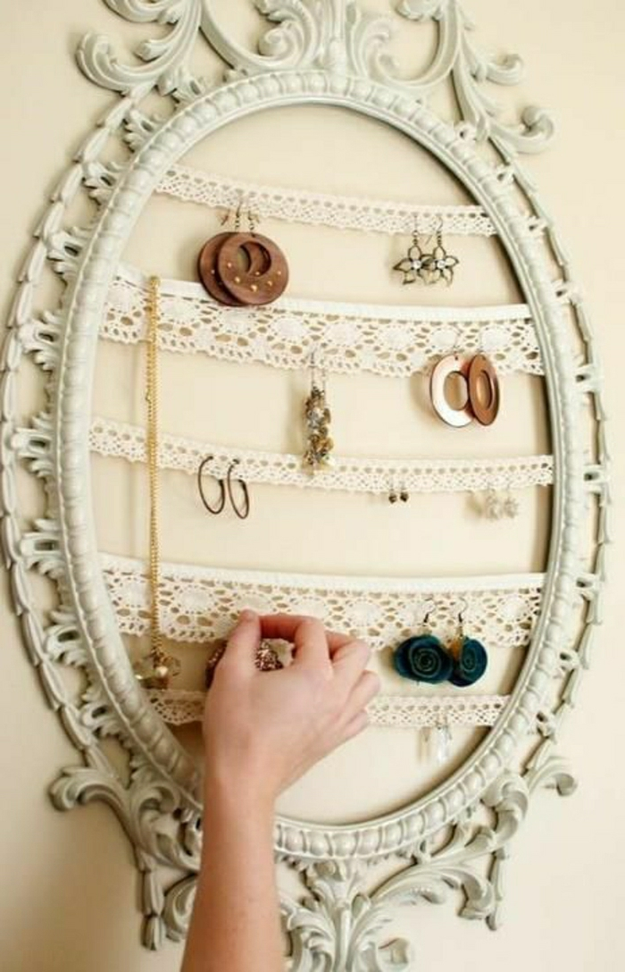 vintage-Rahmen-Spiegel-Bild-creme-farbe-Schmuck-Ständer-Spitze-Reihen