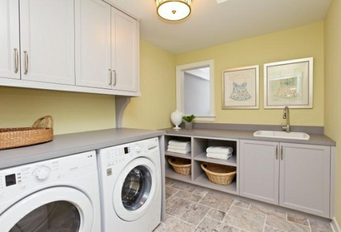 waschbecken-für-waschküche-gelbe-wandgestaltung