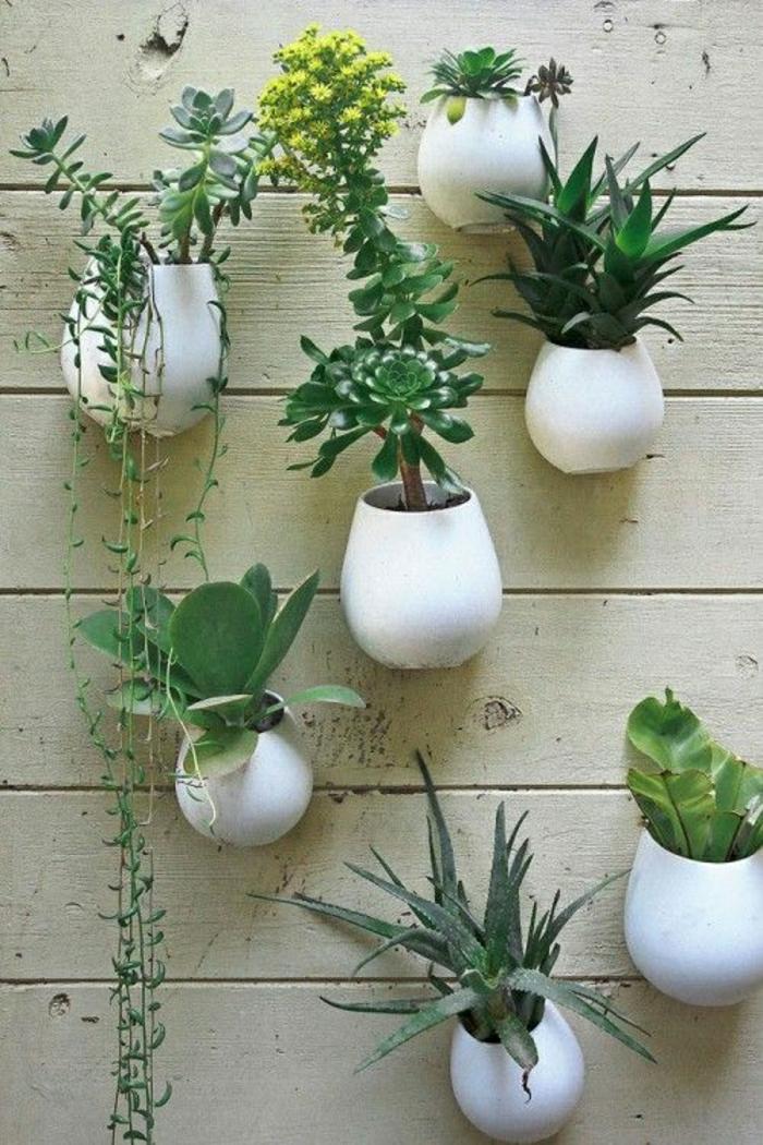 weiße-keramische-Blumentöpfe-Wand-Hof-Garten