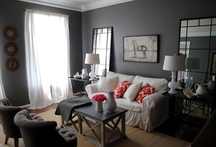 Wohnzimmer und Kamin : wohnzimmer grau magenta ~ Inspirierende ...