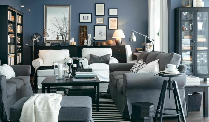 wohnzimmer in grau 55 super designs. Black Bedroom Furniture Sets. Home Design Ideas