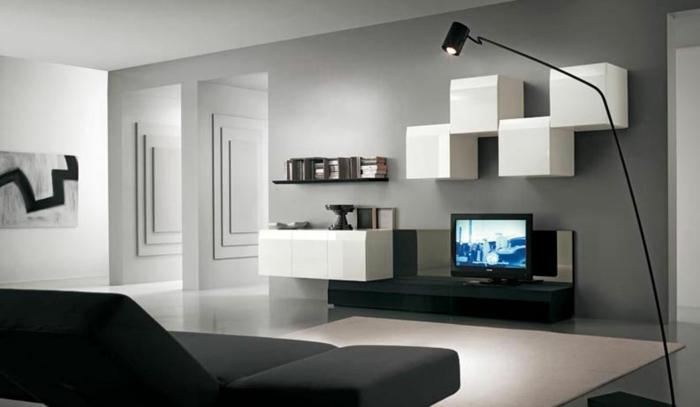wohnzimmer-in-grau-interessante-weiße-regale