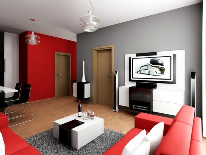wohnzimmer-in-grau-rote-möbel