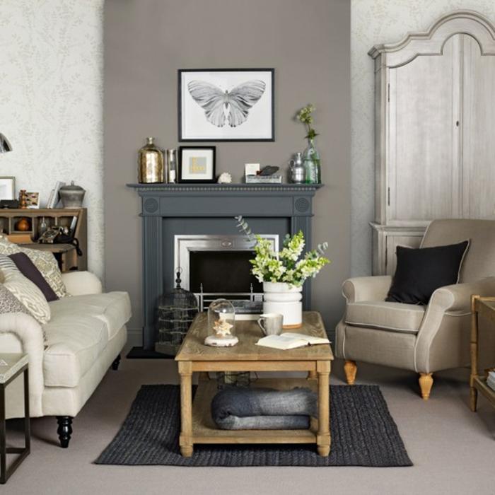 cooles bild wohnzimmer:cooles modell von kamin im wohnzimmer in grau