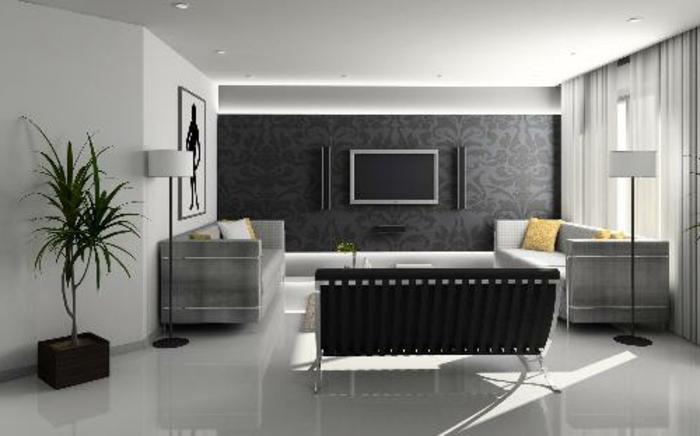 grau grünes wohnzimmer:Wohnzimmer in Grau: 55 super Designs!
