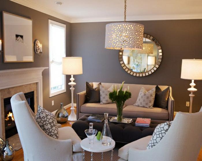 Wohnzimmer Und Kamin Grau Lila Streichen Farbe Dumss