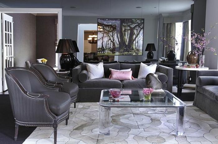 wohnzimmer in grau 55 super designs. Black Bedroom Furniture Sets. Home Design Ideas