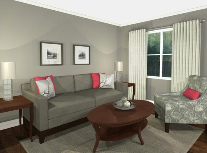 wohnzimmer design grau:wohnzimmer-in-grau-zwei-kleine-bilder-über-dem-sofa
