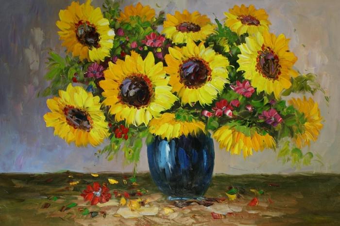 Ölbild-Ölmalerei-Sonnenblumen-blaue-Vase-Stillleben-malerisch-herrlich-Kunst