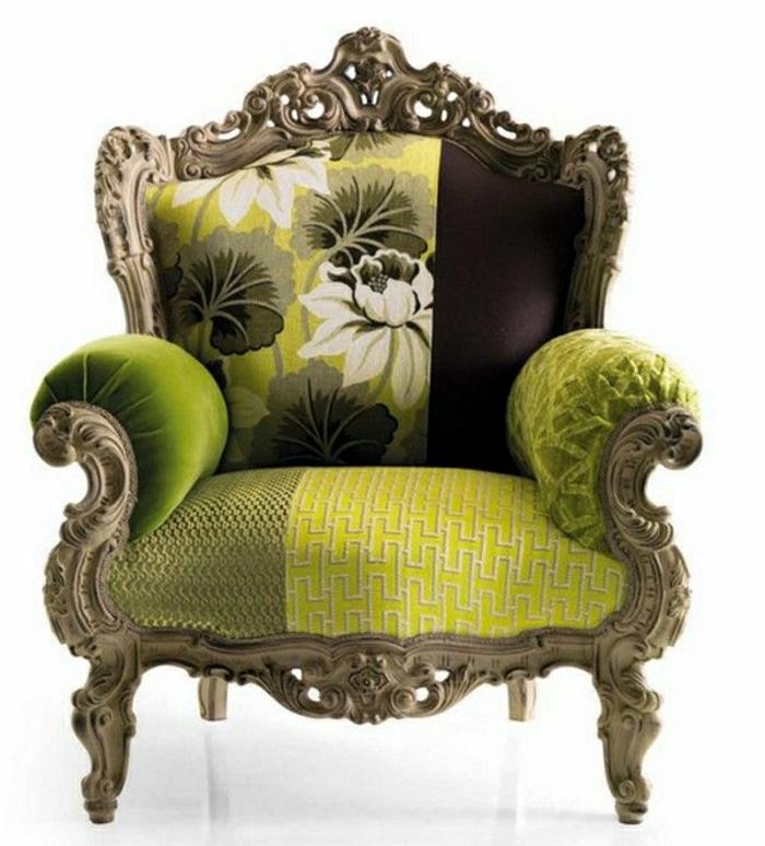 Barock-Sessel-italienisches-Design-grün-Blumen
